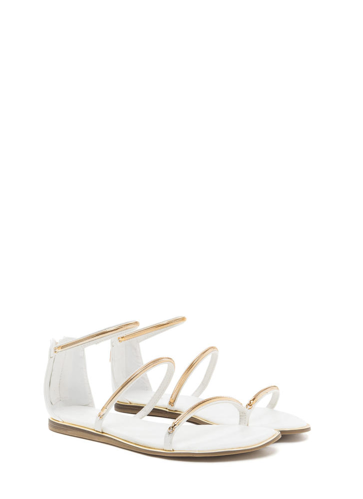 Line By Me Faux Leather Chain Sandals WHITE