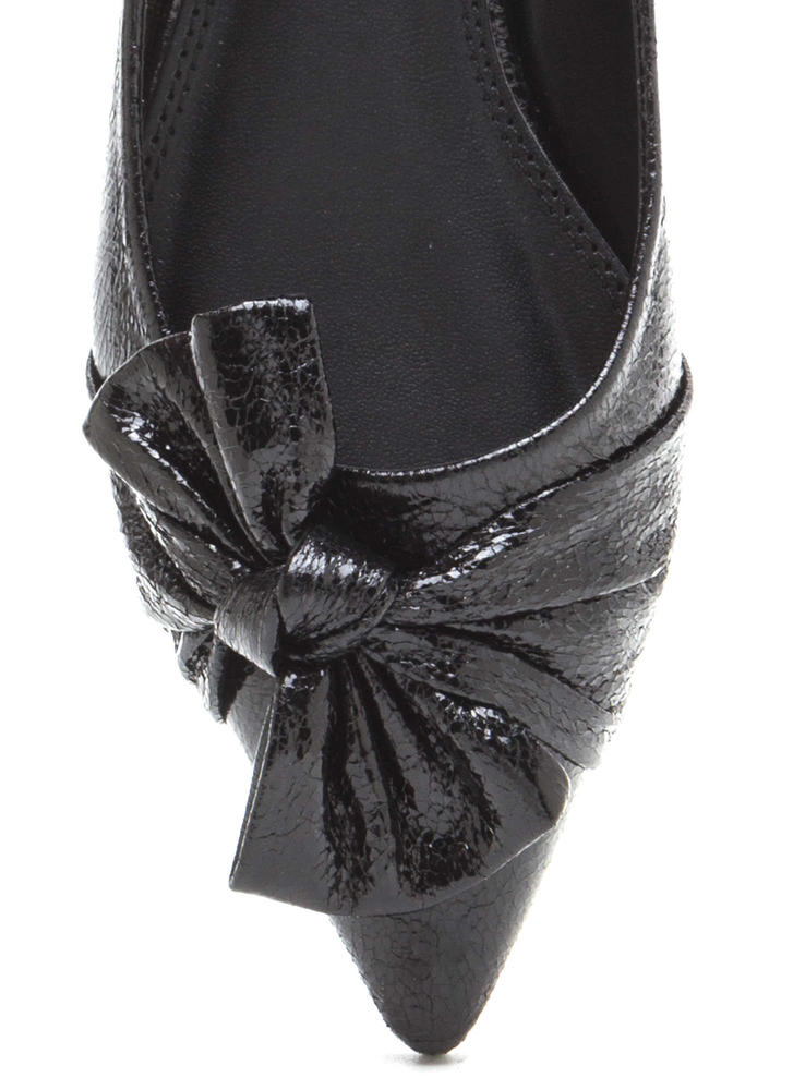 Bow So Chic Pointy Faux Patent Flats BLACK