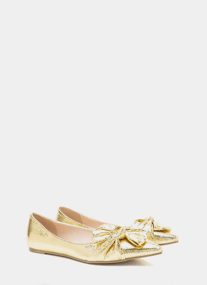 Bow So Chic Pointy Metallic Flats GOLD