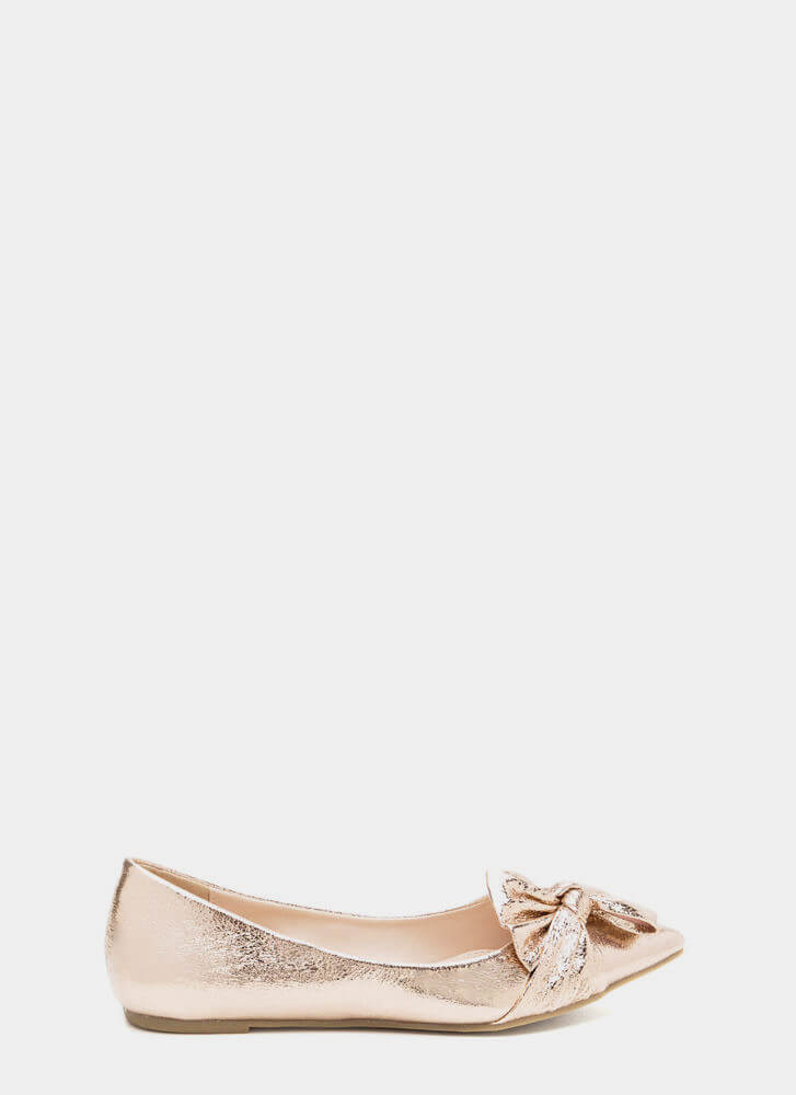 Bow So Chic Pointy Metallic Flats ROSEGOLD