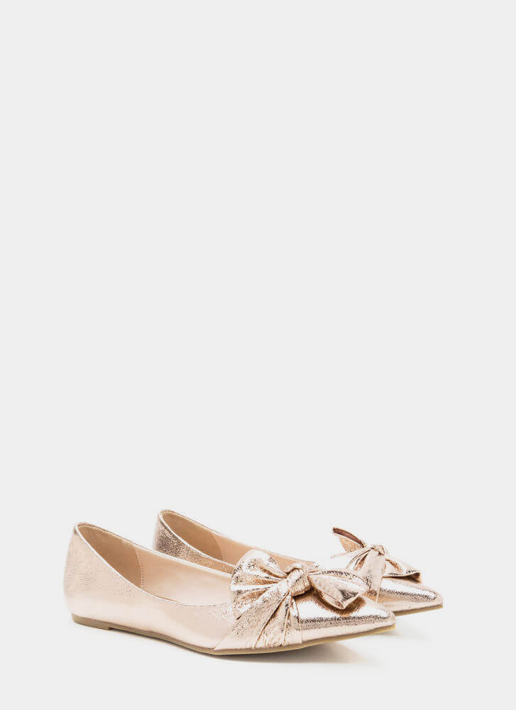 Bow So Chic Pointy Metallic Flats ROSEGOLD (Final Sale)