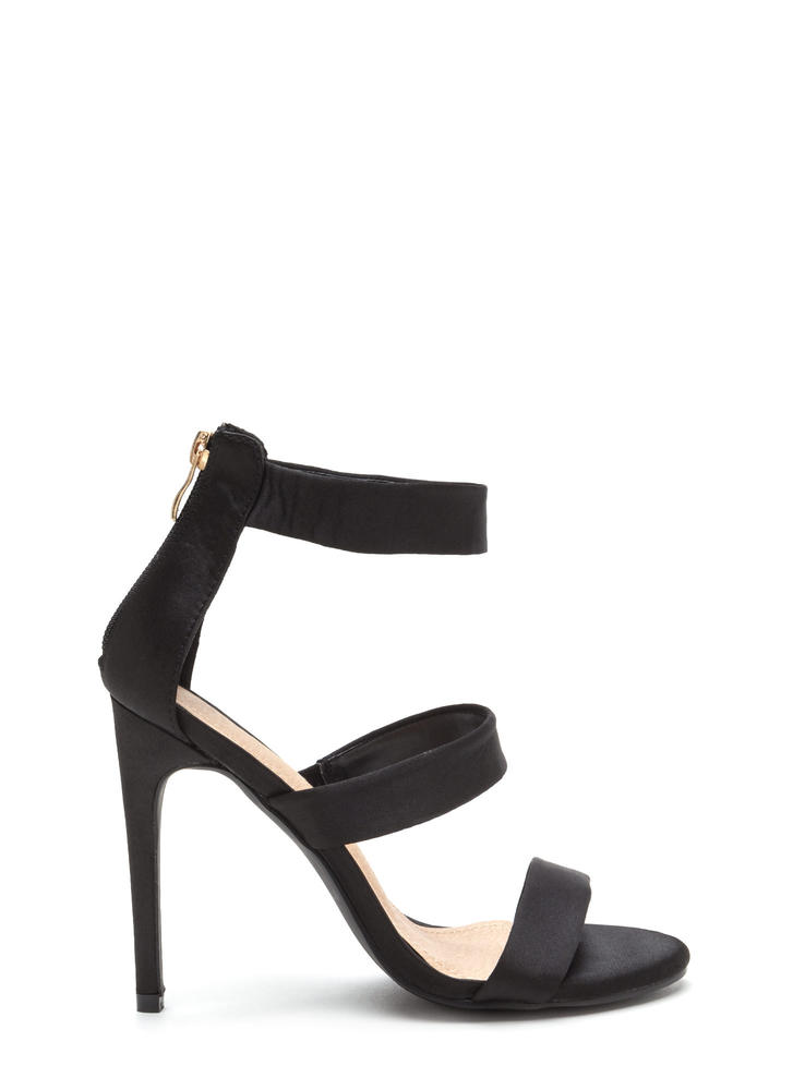 Straight To The Top Strappy Satin Heels BLACK