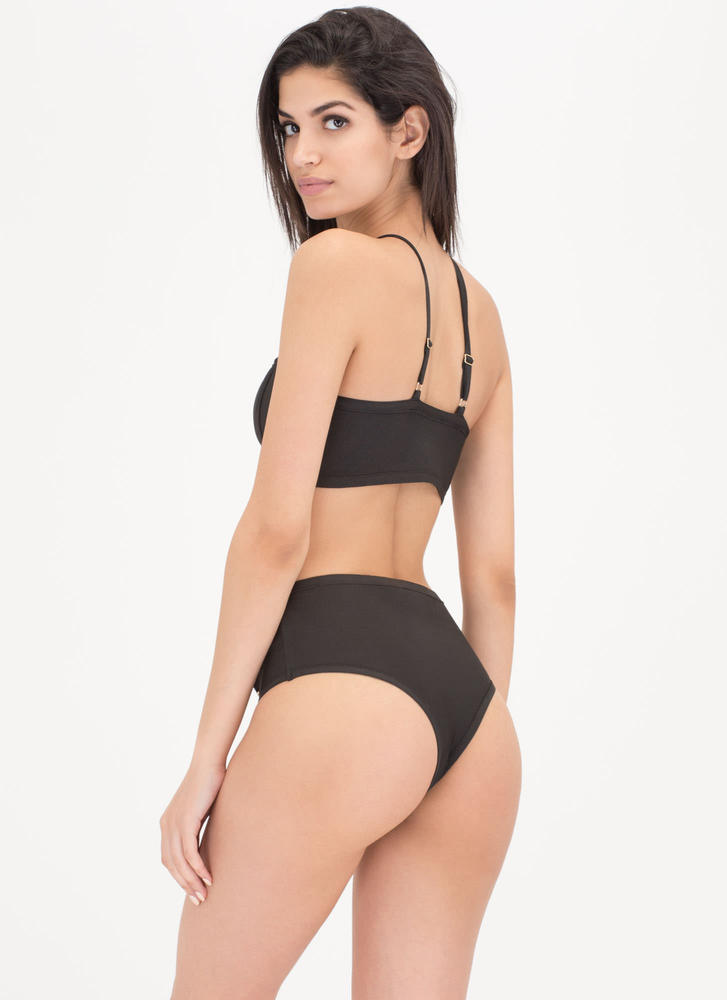 Cali Beach Studded Lace-Up Bikini Set BLACK (Final Sale)