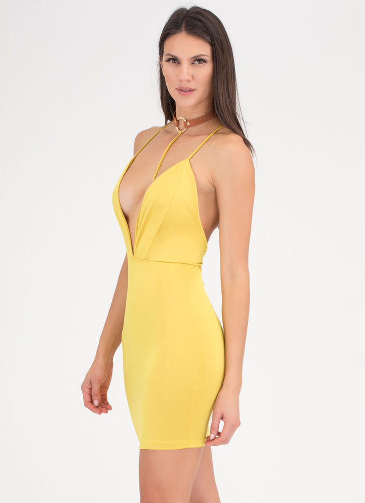 Ring Of Fire T-Strap Choker Dress MUSTARD
