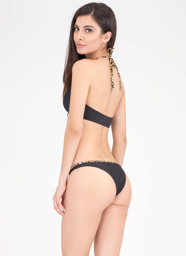 Tropical Paradise Leopard Bikini Set BLACK