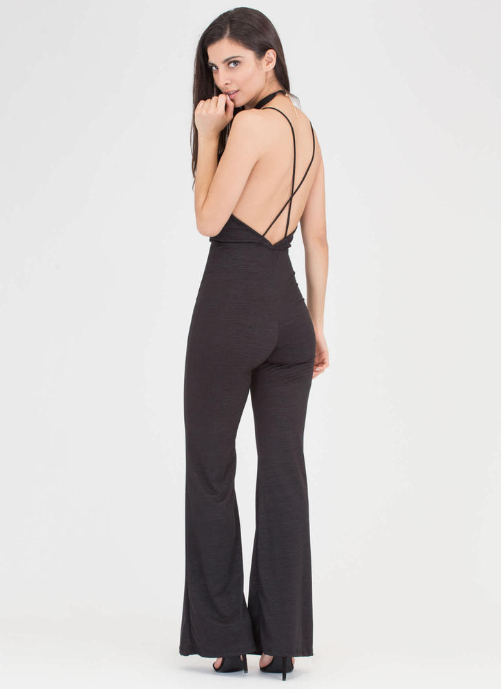 Studio 54 Plunging Choker Jumpsuit BLACK