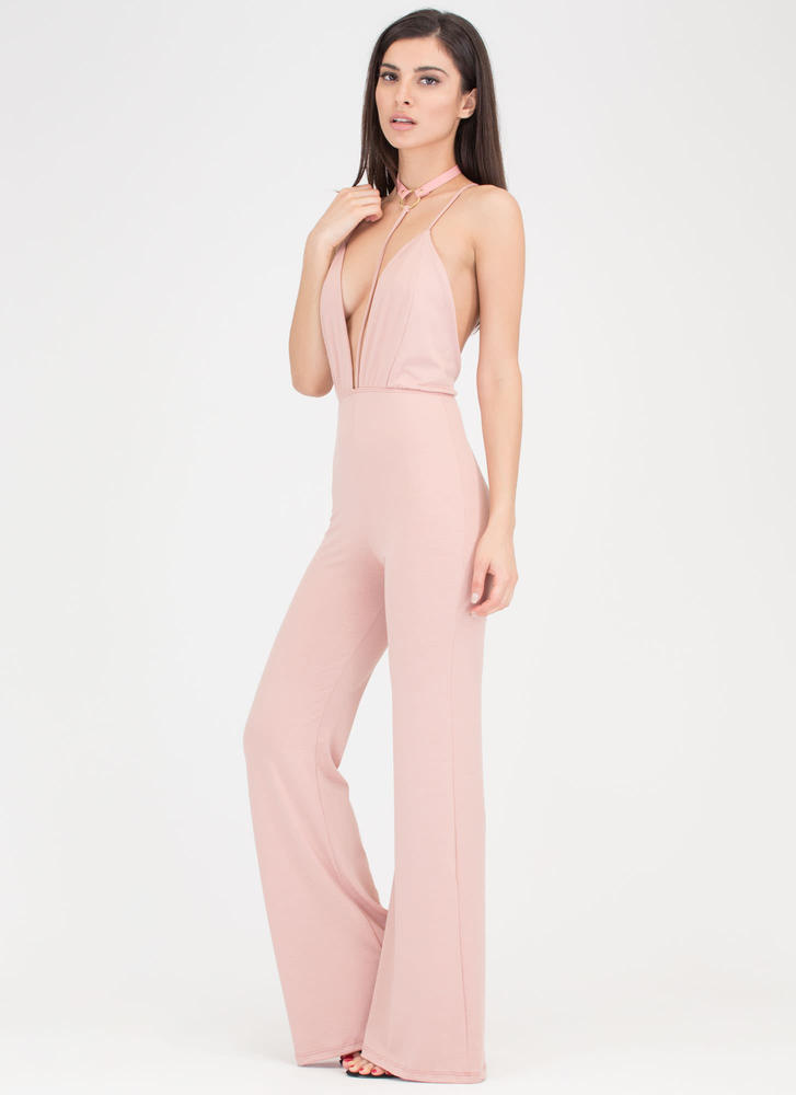 Studio 54 Plunging Choker Jumpsuit BLUSH