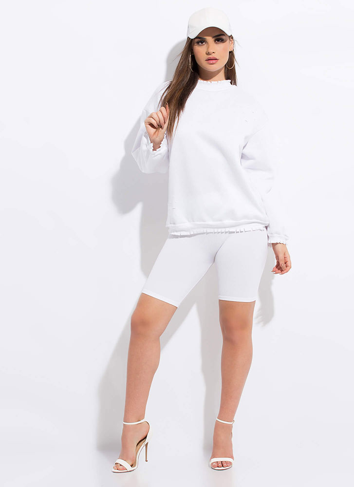 Fashion Crew Distressed Sweatshirt WHITE