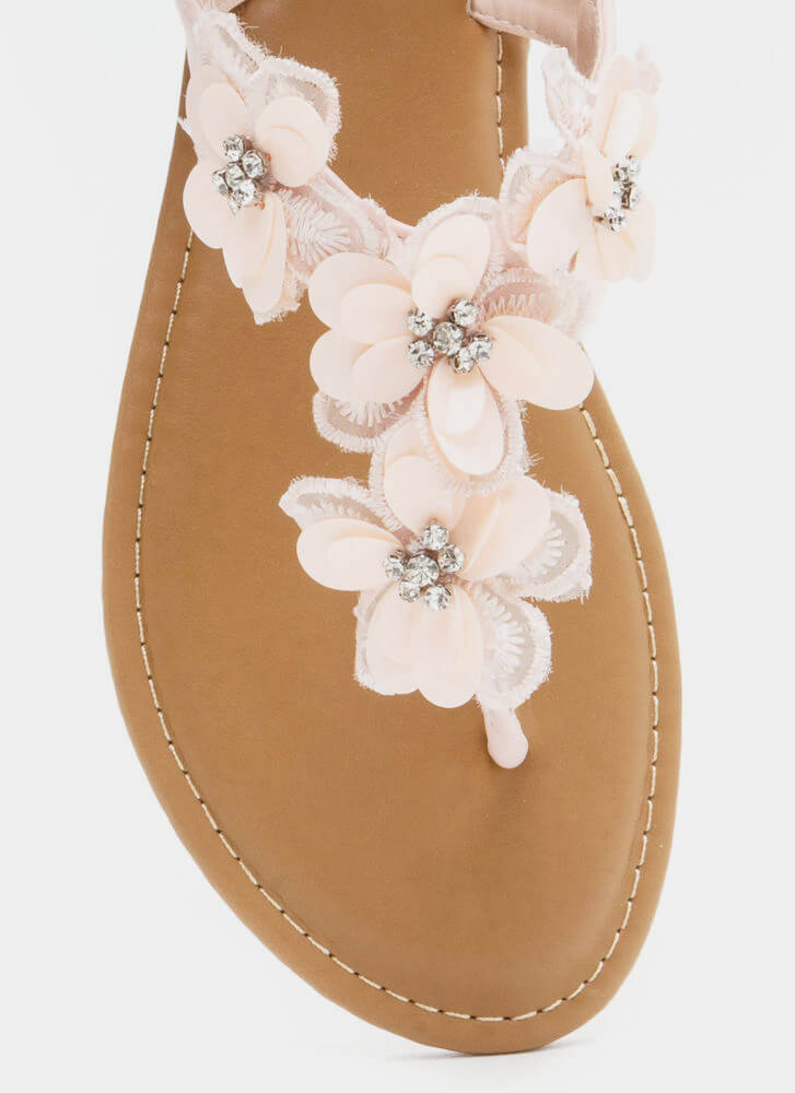 Pick Flowers Applique Thong Sandals BLUSH