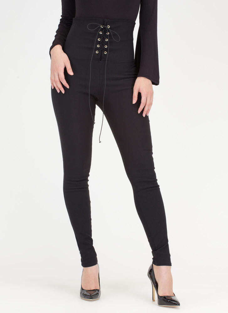 Rock Goddess Lace-Up Skinny Pants BLACK