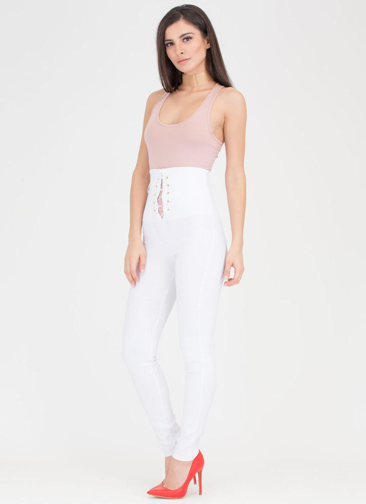 Rock Goddess Lace-Up Skinny Pants WHITE