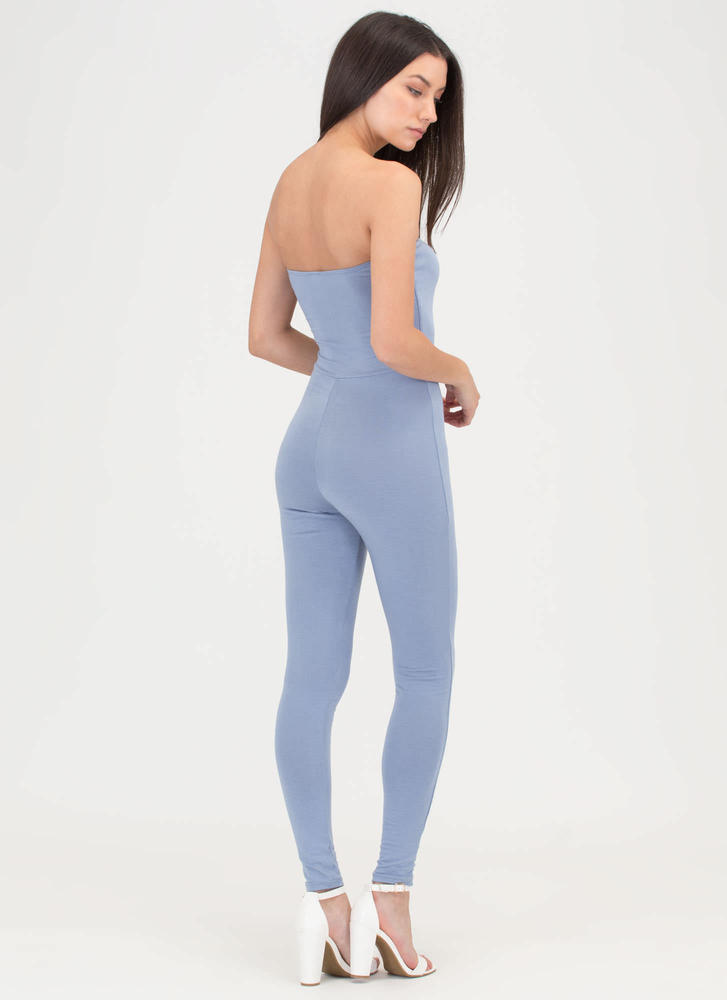 One And Done Cropped Strapless Jumpsuit BLUE
