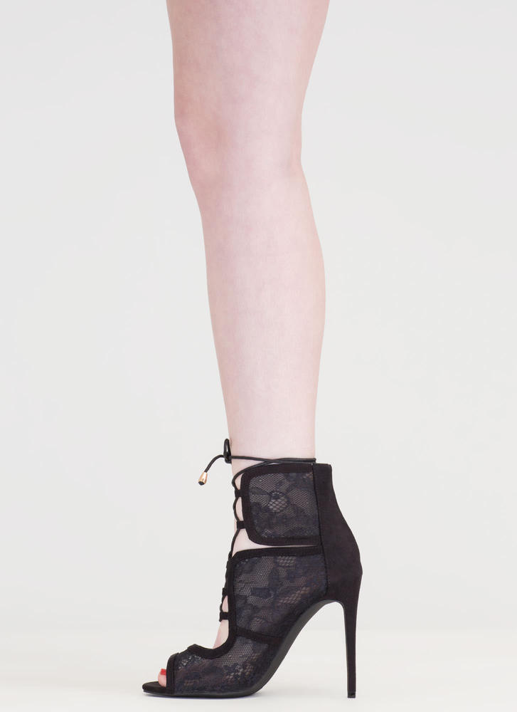 Step Into Romance Tied Lace Heels BLACK (Final Sale)