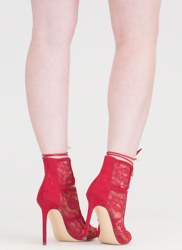Step Into Romance Tied Lace Heels RED