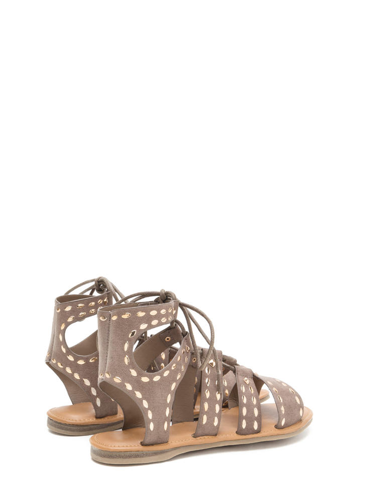 Fashion Victory Studded Lace-Up Sandals TAUPE (Final Sale)