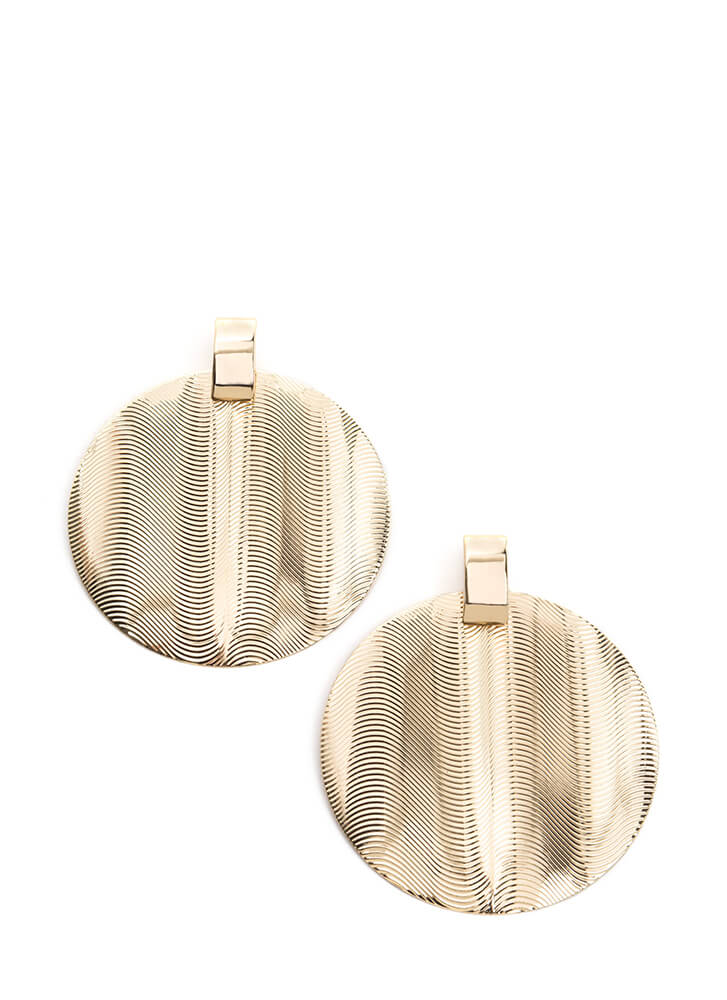 Throwback Touch Textured Disc Earrings GOLD (You Saved $4)