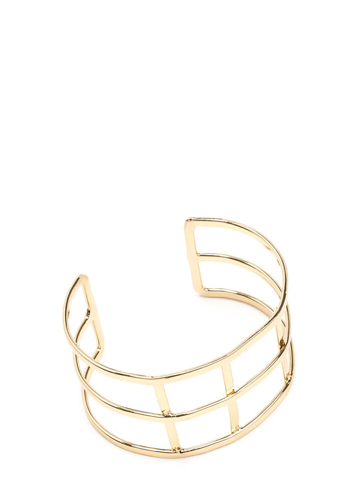 Grid Girl Caged Cuff Bracelet GOLD (You Saved $5)