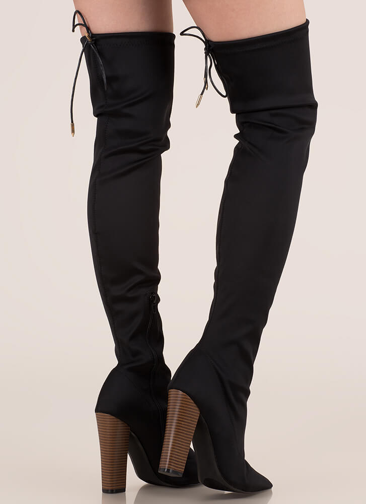 Smooth Move Chunky Thigh-High Boots BLACK