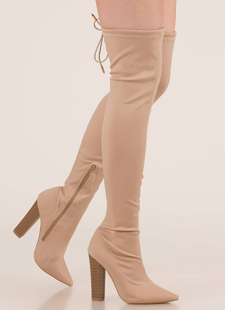 Smooth Move Chunky Thigh-High Boots TAUPE