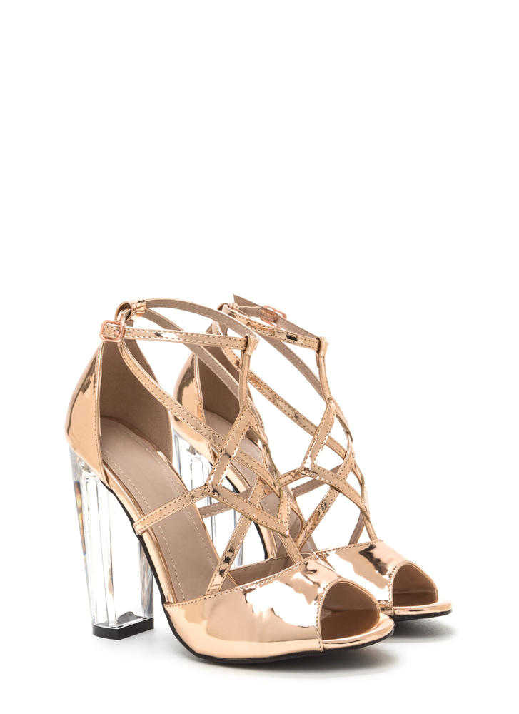 Act Your Cage Metallic Clear Heels ROSEGOLD (Final Sale)