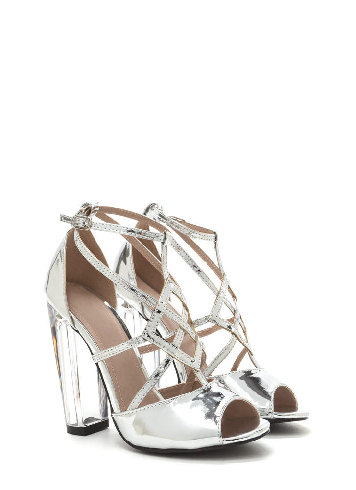 Act Your Cage Metallic Clear Heels SILVER (Final Sale)