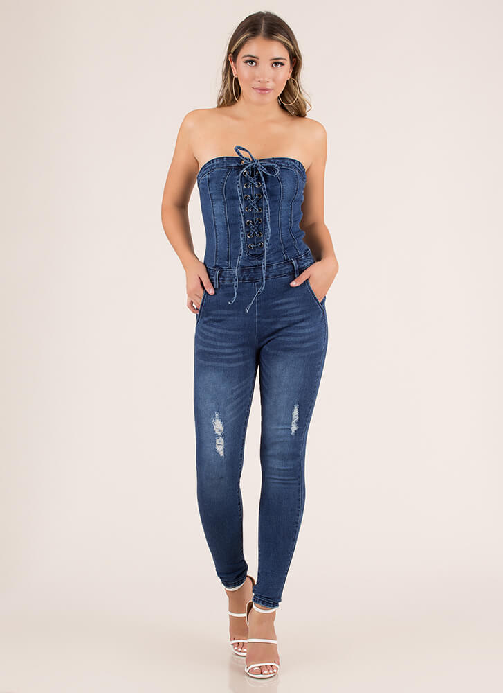 Jean In Lace-Up Denim Jumpsuit BLUE