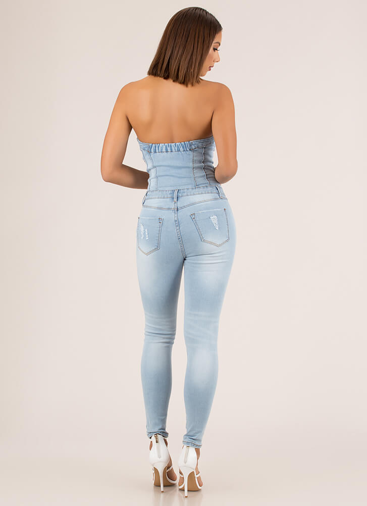 Jean In Lace-Up Denim Jumpsuit LTBLUE