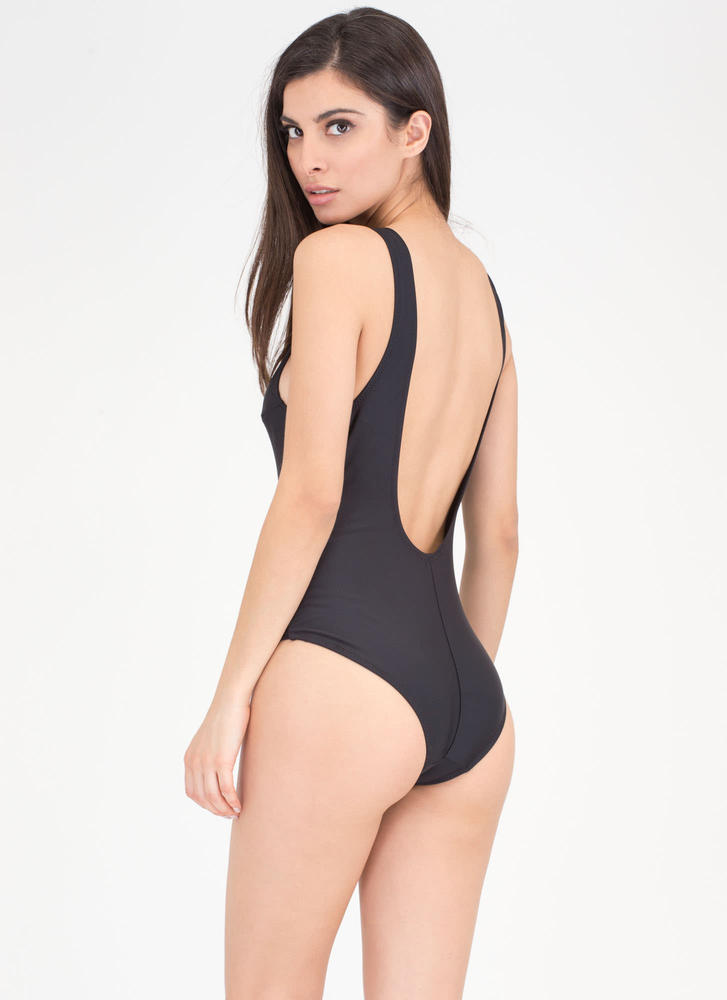 U Got It Lace-Up One-Piece Swimsuit BLACK (Final Sale)