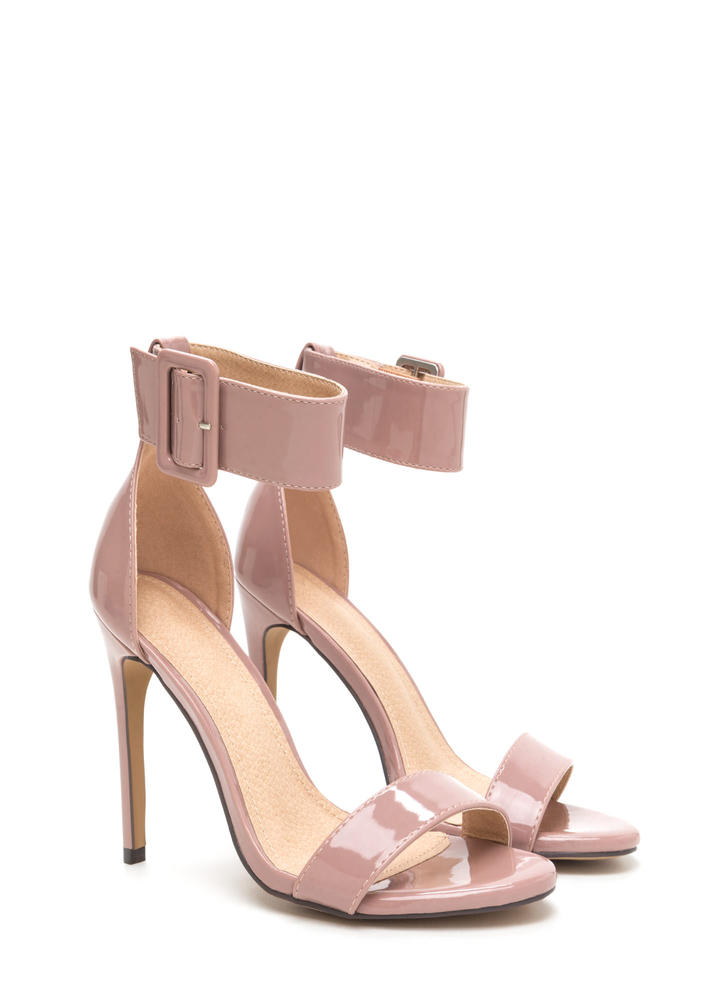Buckle Up Strappy Faux Patent Heels MAUVE