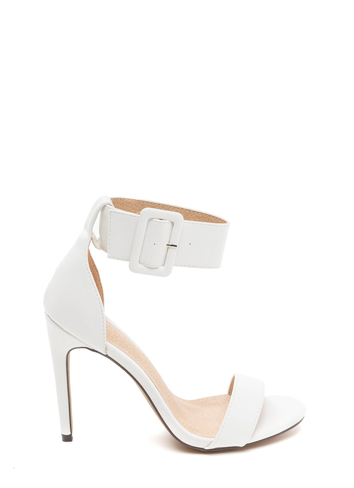 Buckle Up Strappy Faux Patent Heels WHITE