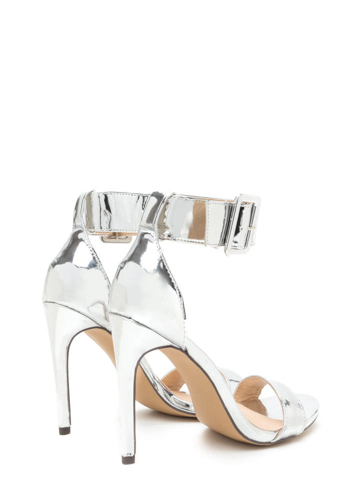Buckle Up Strappy Metallic Heels SILVER