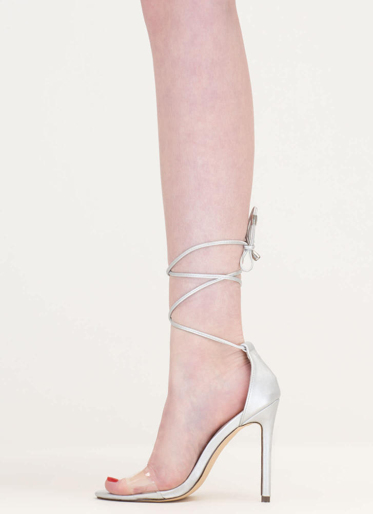 Keep Clear Metallic Faux Leather Heels SILVER