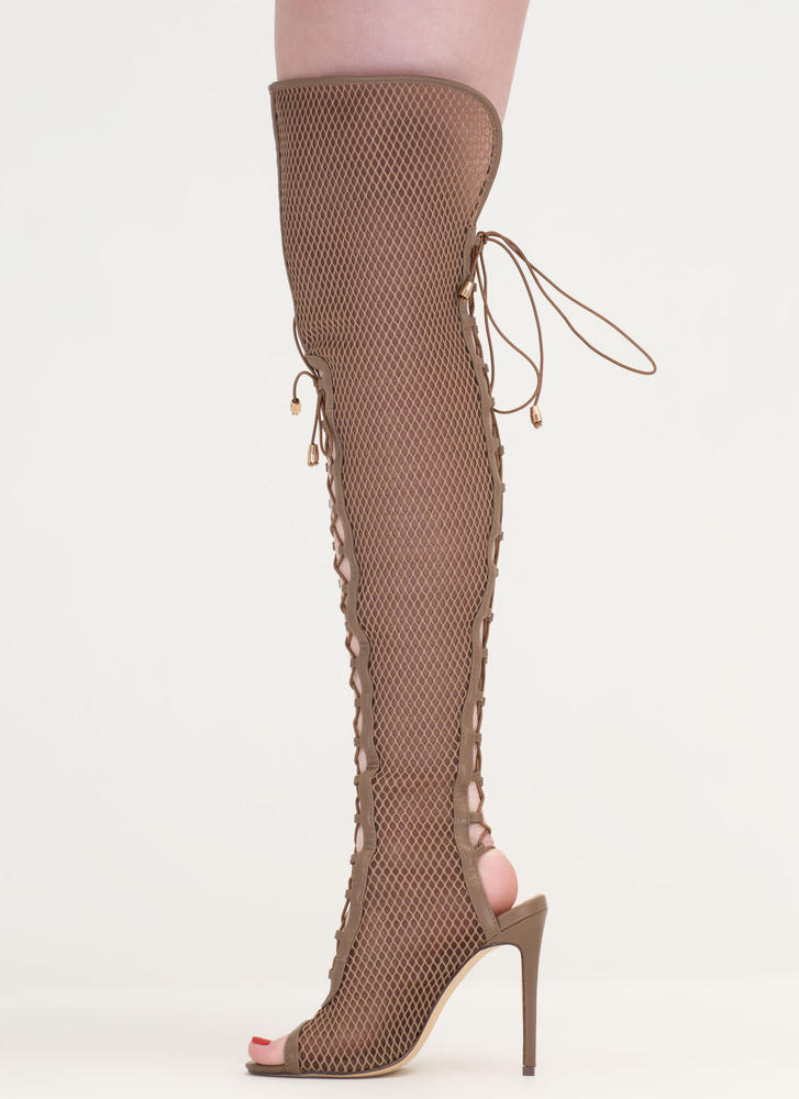 Lace Me Up Netted Mesh Thigh-High Boots TAUPE