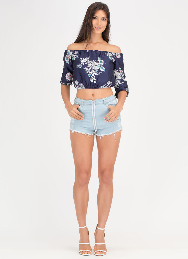 Zip Tide Distressed Denim Cutoff Shorts LTBLUE