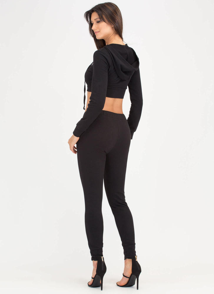 All You Want Lace-Up Top 'N Pants Set BLACK
