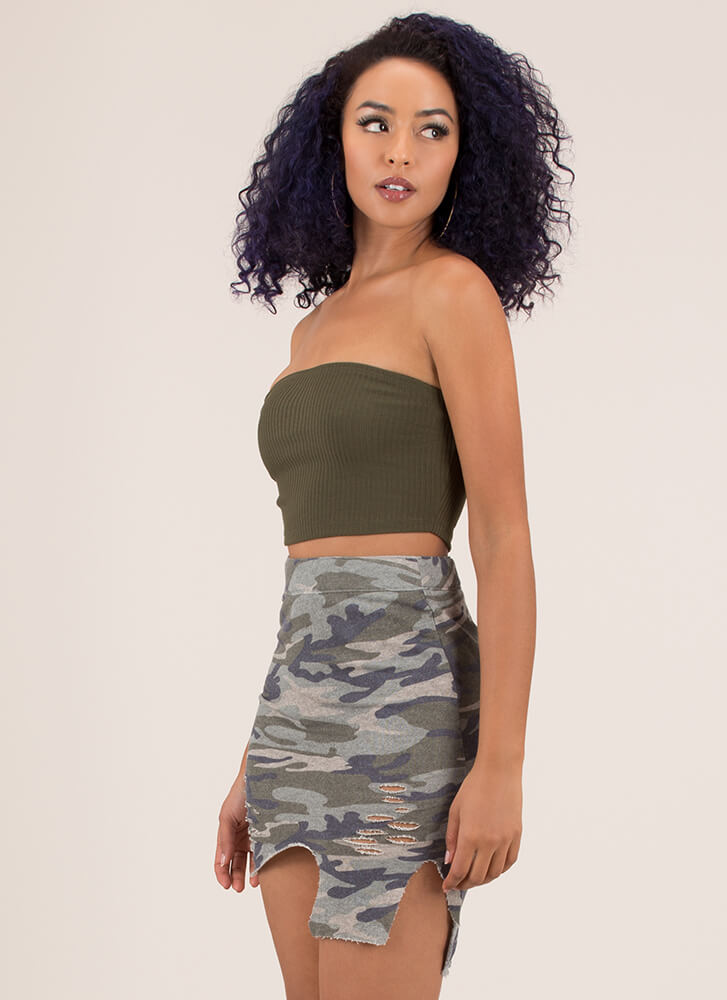 Hole Army Asymmetrical Camo Skirt CAMOUFLAGE
