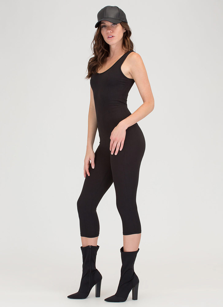 Short And Simple Cropped Full Bodysuit BLACK