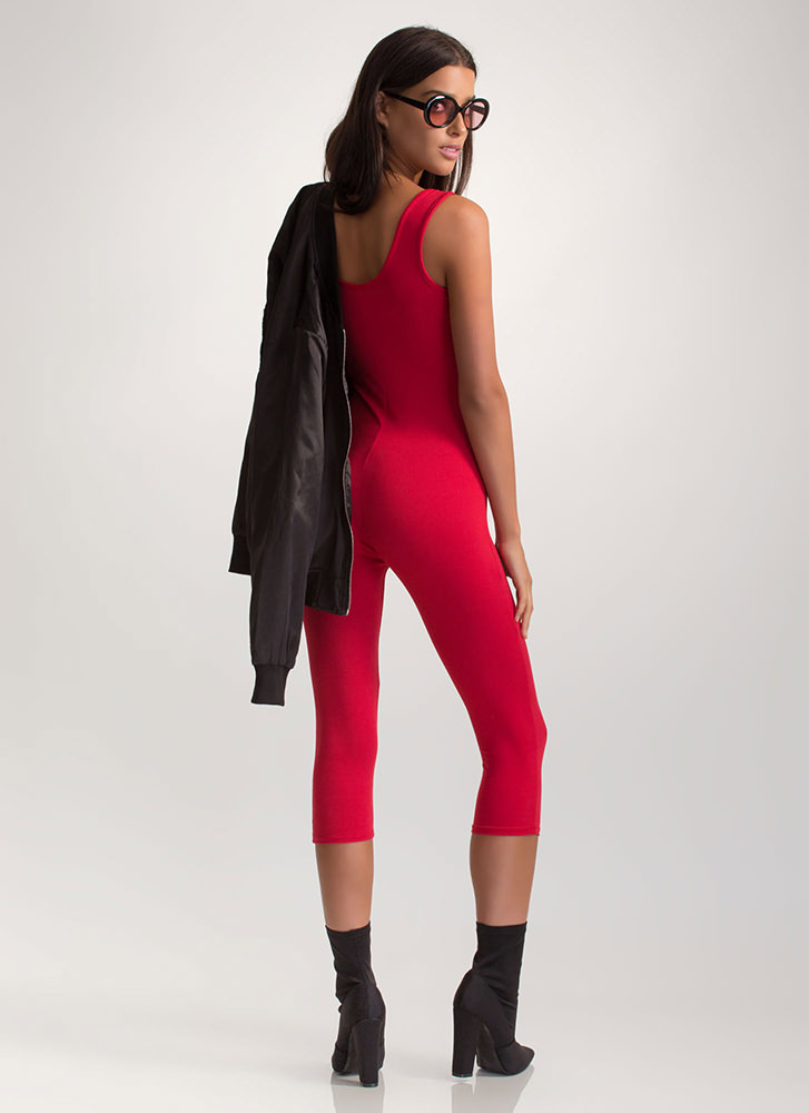 Short And Simple Cropped Full Bodysuit RED
