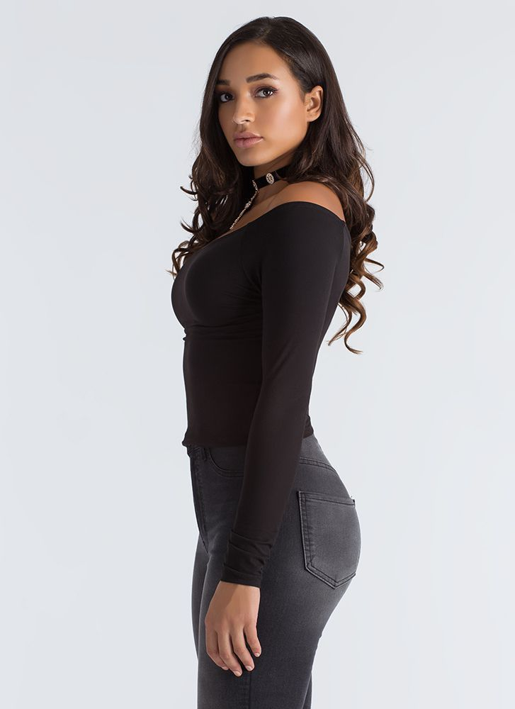 Basically Beautiful Wide Neck Top BLACK