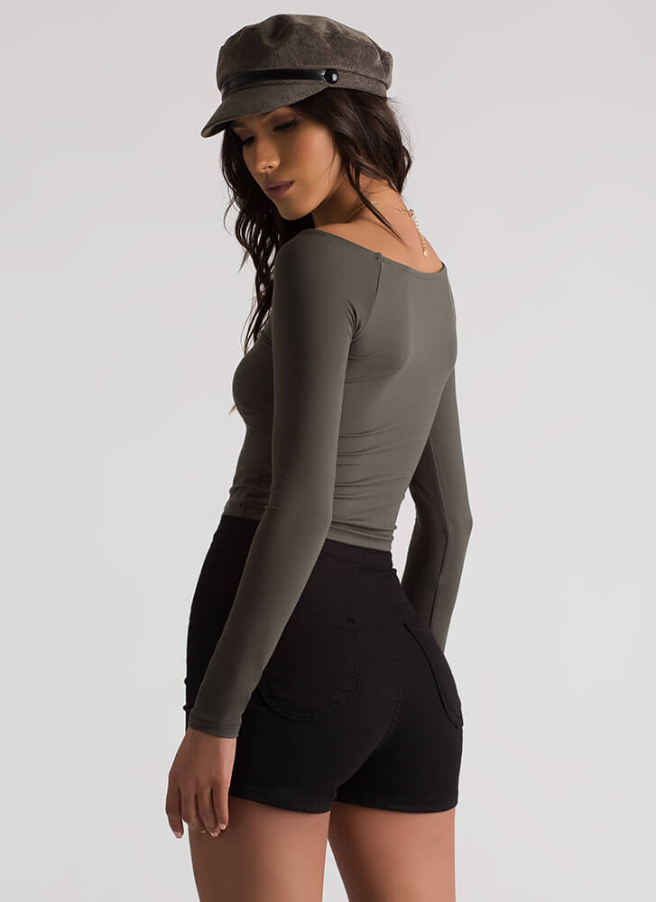 Basically Beautiful Wide Neck Top OLIVE