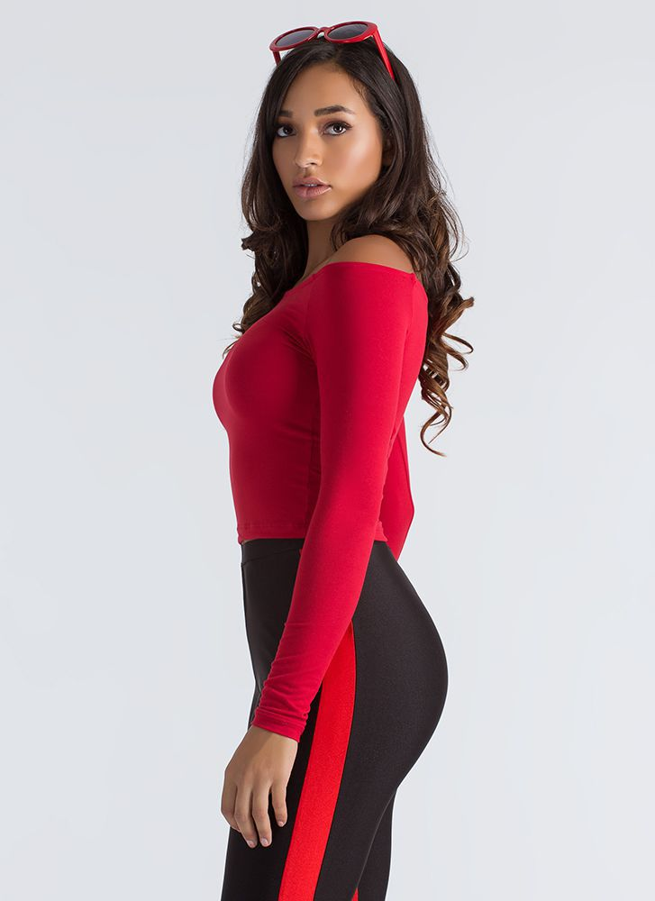 Basically Beautiful Wide Neck Top RED