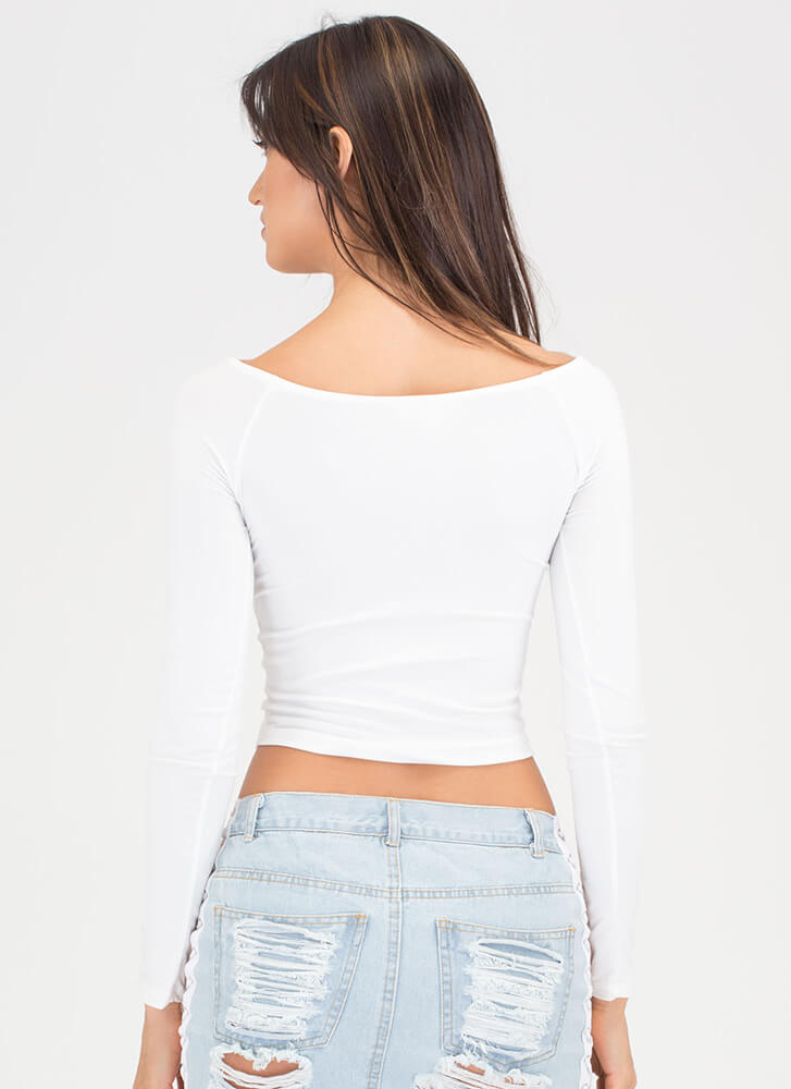Basically Beautiful Wide Neck Top WHITE