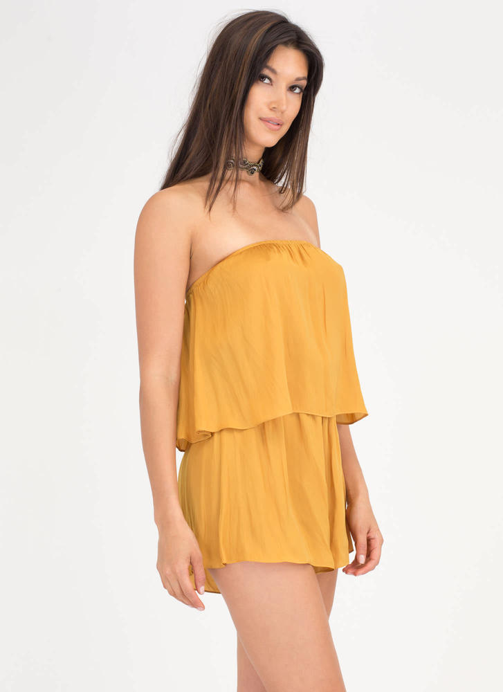 Major Moment Draped Strapless Romper GOLD