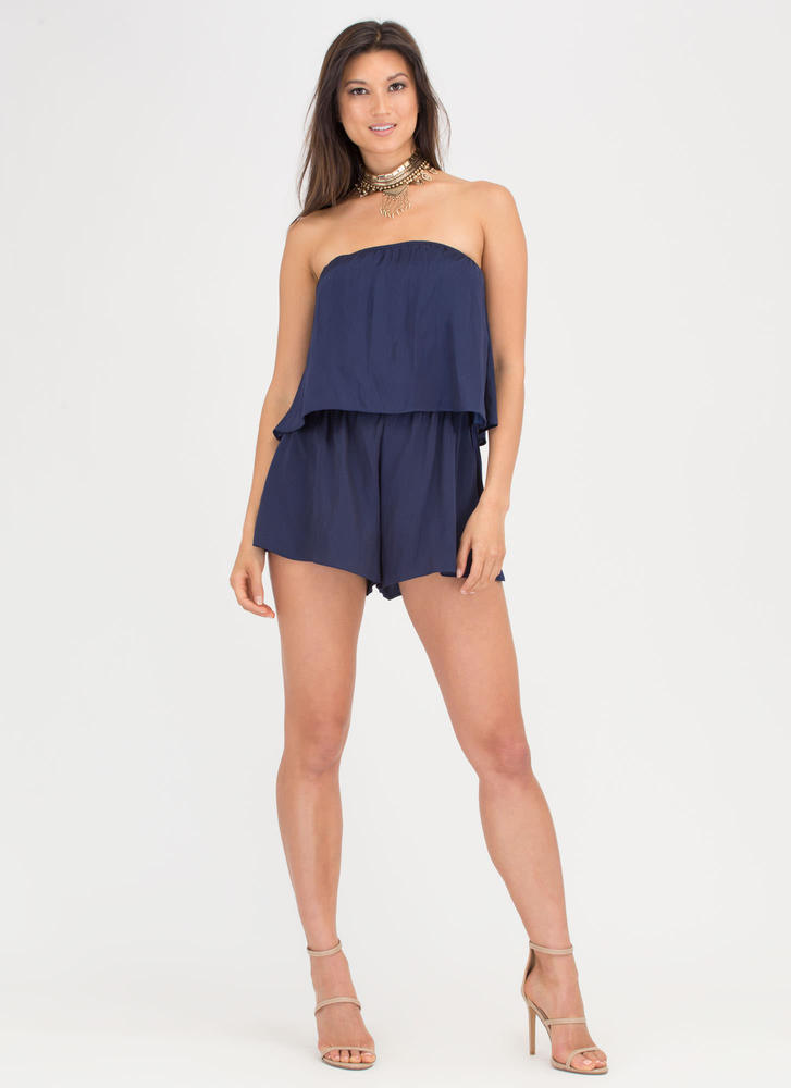Major Moment Draped Strapless Romper NAVY