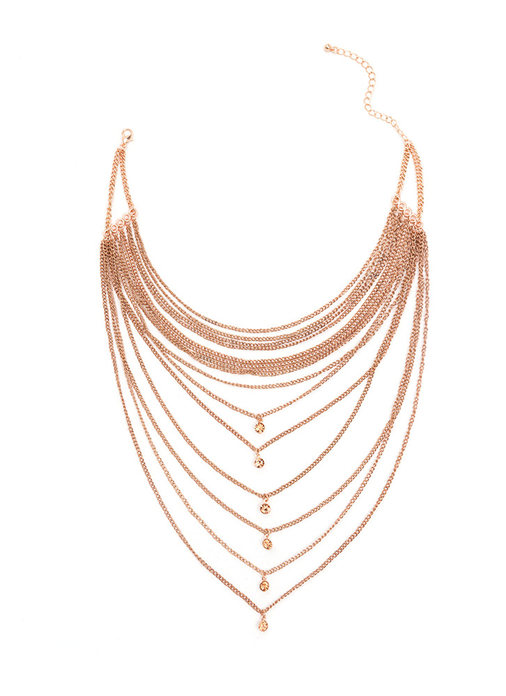 Front And Center Layered Chain Necklace ROSEGOLD