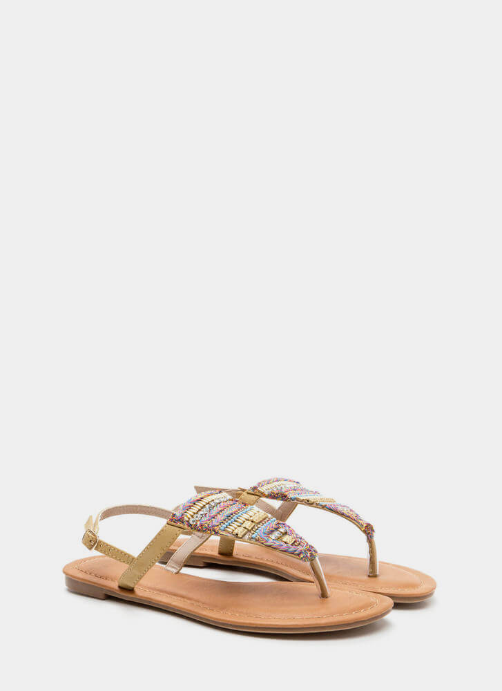 Bedazzled 'N Chic Faux Leather Sandals BEIGE