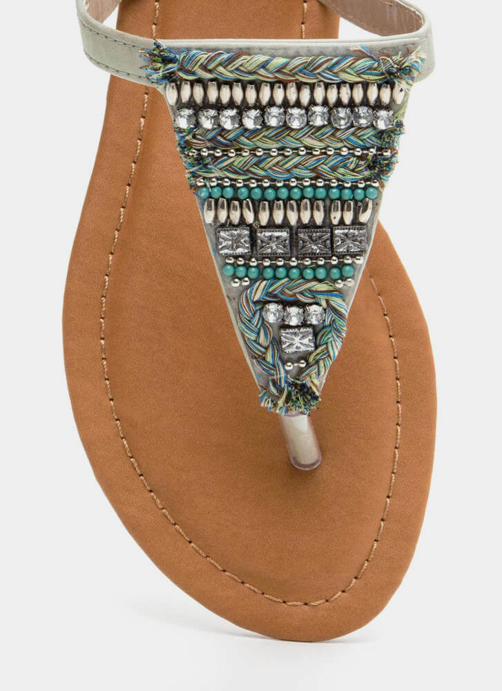 Bedazzled 'N Chic Faux Leather Sandals ICE