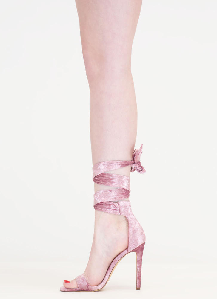 Crush It Lace-Up Velvet Heels DUSTYPINK