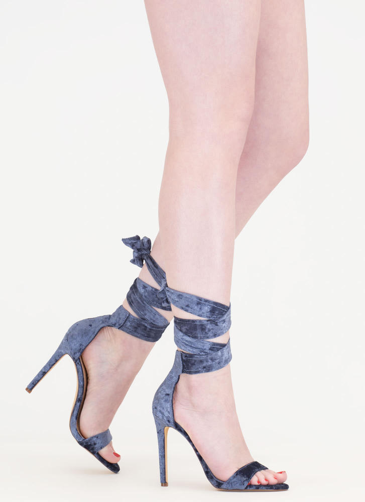 Crush It Lace-Up Velvet Heels MOONLIGHT (Final Sale)