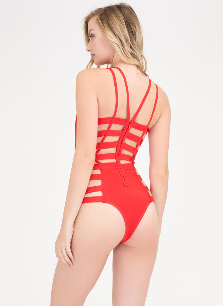 Up The Ladder Strappy Caged Swimsuit RED (Final Sale)